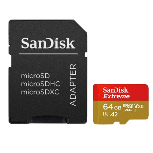 SanDisk 64Go microSDXC Extreme avec adaptateur