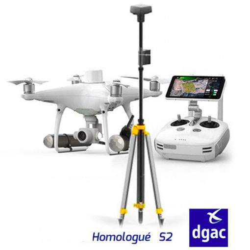 DJI Phantom 4 RTK homologué S2 (coupe circuits & parachute) + station D-RTK2 et Terra Pro