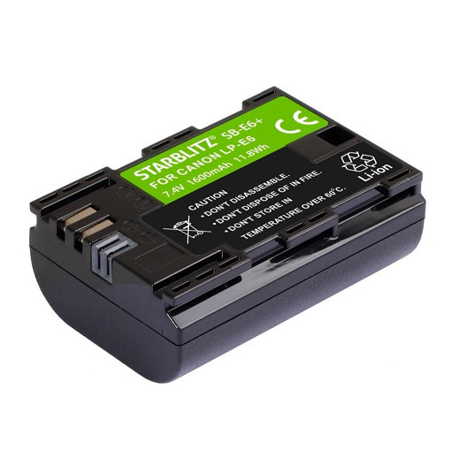 Batterie rechargeable LP E6 Lithium-ion pour Canon - Starblitz