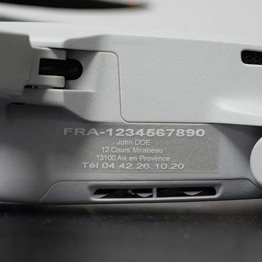 Étiquette d'enregistrement drone Loisir (Entre 250g-800g)