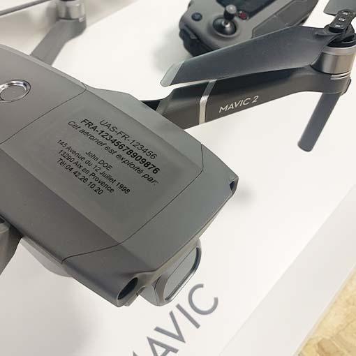 Étiquette d'enregistrement drone Pro +800g