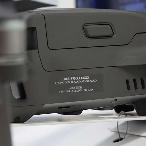 Etiquette d'enregistrement drone Loisir +800g
