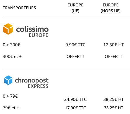 Nos tarifs de livraison pour les pays UE et hors UE
