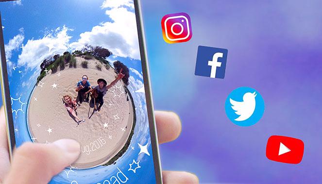 Ricoh Theta Z1 : partage sur les réseaux sociaux